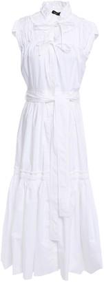 Proenza Schouler Lace-up Gathered Cotton-poplin Midi Dress