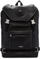 Versus Black Leather Buckled Backpack