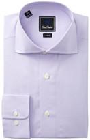 David Donahue Trim Fit Small Check Dress Shirt