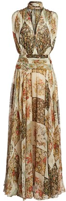 Oscar de la Renta Patchwork Floral Sleeveless Silk Scarf Gown