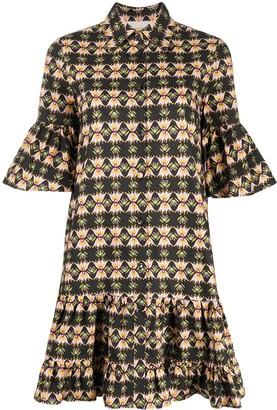La DoubleJ Ruffle-Trim Printed Shirt Dress