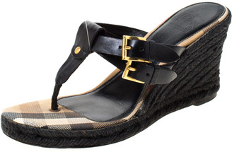 Burberry Black Leather And Novacheck Canvas Wedge Espadrille Sandals Size 37.5