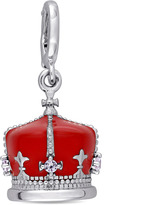 Laura Ashley Enamel-Plated Silver Crown Charm with Lab-Created Sapphire Accents