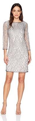 J Kara Women's Petite Short Cocktail with All Over Beaded Dress