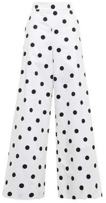 Oscar de la Renta Polka-dot Cotton-twill Wide-leg Pants