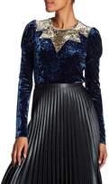 Anna Sui Starburst Colorblock Velvet Shirt