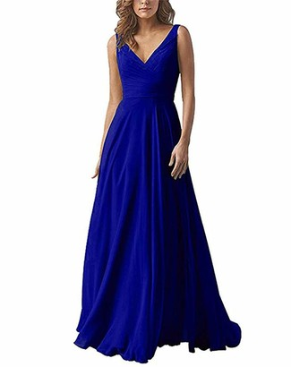 Leader of the Beauty Chiffon A Line Double V Neck Bridesmaid Dress Long Wedding Evening Dress Royal Blue UK 22