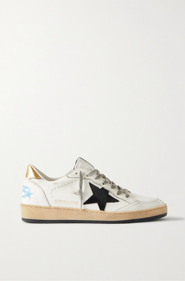 Golden Goose Ball Star Distressed Suede-trimmed Leather Sneakers - White