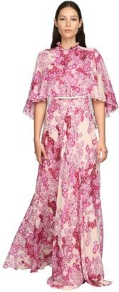 Giambattista Valli Flower Print Silk Georgette Long Dress