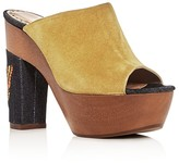 Alexa Wagner Aladin Suede and Denim High Heel Platform Silde Sandals