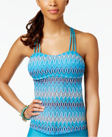 Hula Honey Festival Dream Chevron Crochet Strappy Tankini Top Women's Swimsuit