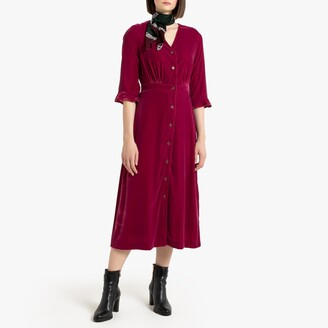 La Redoute Collections Velvet Button-Through Midi Dress with Short Sleeves