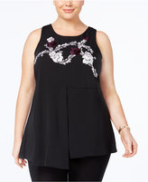 Alfani Plus Size Embroidered Peplum Tunic, Created for Macy's