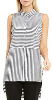 Vince Camuto Sleeveless Collared Button Down Blouse
