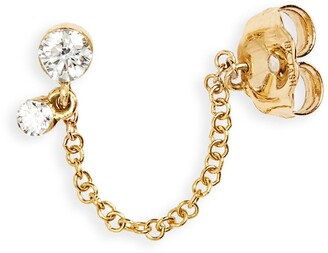 Maria Tash Invisibly Set Diamond Dangle & Chain Stud Earring