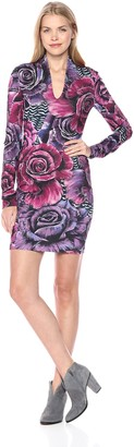 Just Cavalli Womens Fitted Rose Print Dress