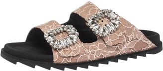 Roger Vivier Beige Lace Slidy Viv Strass Embellished Flat Slide Size 40