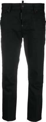DSQUARED2 Cropped Black Denim Straight Leg Trousers