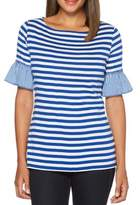 Rafaella Bell-Sleeve Striped Gingham Cotton Tee