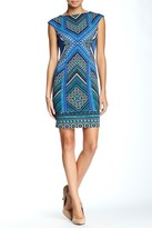 London Times T1497P Cap Sleeve Multi-Print Dress
