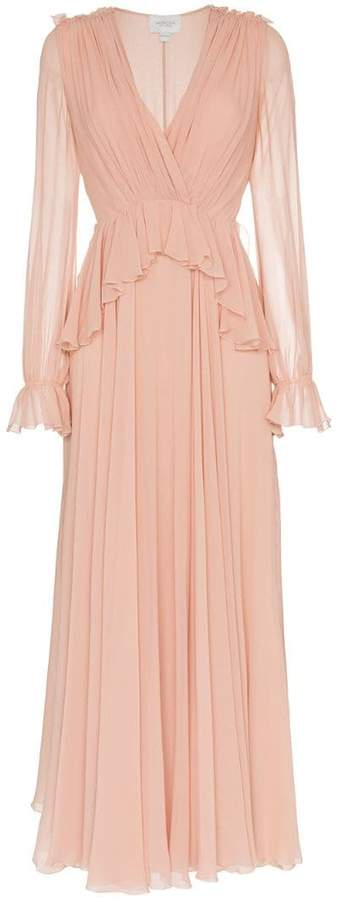 Giambattista Valli v-neck long sleeve silk maxi dress