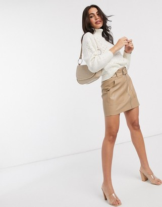 Stradivarius faux leather mini skirt with belt in beige
