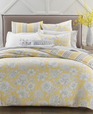 Charter Club Damask Designs 300-Thread Count Outline Botanical 3-Pc. Reversible King Comforter Set, Created for Macy's Bedding