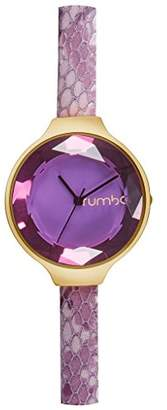 RumbaTime Women's Orchard Gem Exotic Stainless Steel Japanese-Quartz Watch with Leather Calfskin Strap