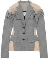 Antonio Berardi Tulle-paneled Checked Wool, Linen And Silk-blend Blazer - Gray