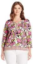 Caribbean Joe Women's Long Sleeve Scoop Neck Floral Printed Top with Geometric Border Print