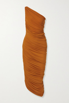 Norma Kamali Diana One-shoulder Ruched Stretch-jersey Dress - Bronze