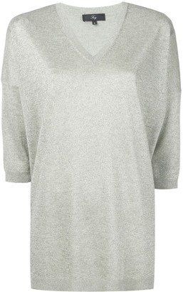 Fay metallic V-neck T-shirt