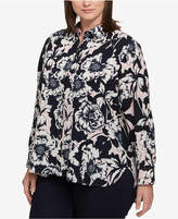 Tommy Hilfiger Plus Size Printed Roll-Tab Shirt, Created for Macy's