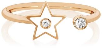 Ef Collection 14K Rose Gold White Enamel & Diamond Open Star Ring - Size 7 - 0.06 ctw