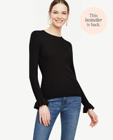 Ann Taylor Ribbed Ruffle Cuff Sweater