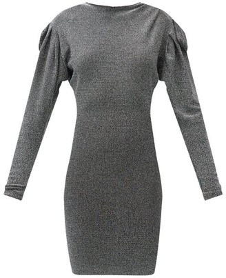 Isabel Marant Waden Gathered-shoulder Metallic-jersey Dress - Black Silver