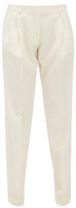 Roche Ryan Pleated High-rise Wool Trousers - Womens - White