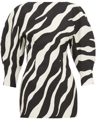 Elzinga - Balloon-sleeve Zebra-jacquard Dress - Womens - Black White