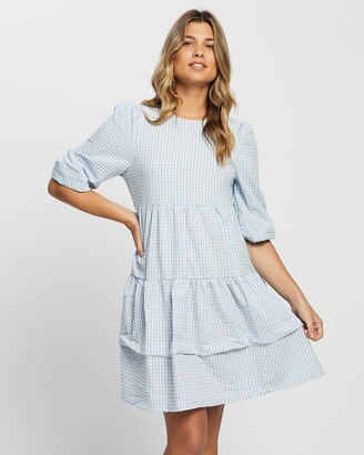 Only Women's Blue Gingham Dresses - Johanna Dress - Size One Size, L at The Iconic