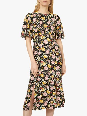 Warehouse Riviera Floral Print Midi Dress, Black/Multi