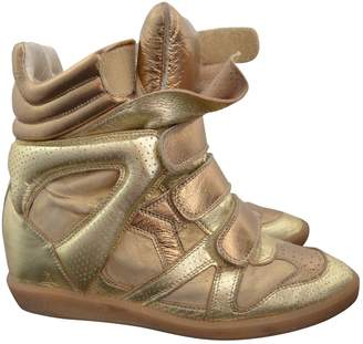 Isabel Marant Beckett Gold Leather Trainers