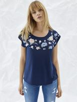 Jeanswest Bailey Floral Embroidery Tee-deep iris-XS