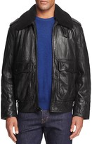 Andrew Marc Anchorage Shearling Collar Lambskin Leather Aviator Jacket