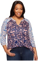 Lucky Brand Plus Size Mixed Floral Top