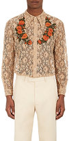 Gucci Men's Floral-Embroidered Lace Dress Shirt