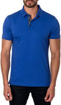 Jared Lang Semi-Fitted Geometric-Revers Pique Polo Shirt