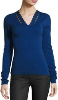 Elie Tahari Uma Lace-Trim Merino V-Neck Sweater, Bluette