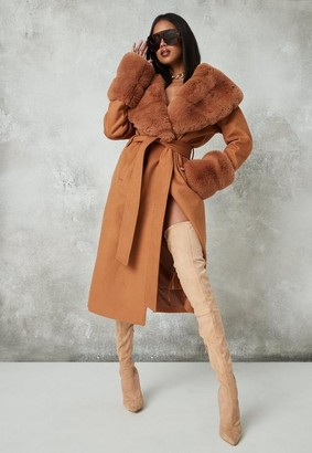 Missguided Tall Tan Pelted Faux Fur Collar Cuff Coat