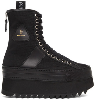 R 13 Black Tall Winter Platform Boots