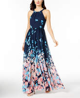 Betsy & Adam Printed Halter Gown